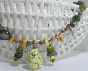 The Yellow Chunky Tribal Necklace is Katherine's favorite in the Junebug Jewelry Store.