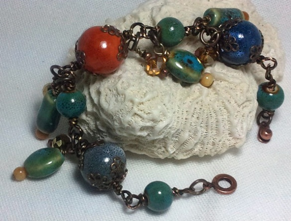 Earthy Wire Wrapped Beaded Charm Bracelet by Junebug Jewelry Designs