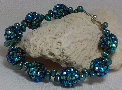 Blue Bling Ball Bracelet with Pearls
