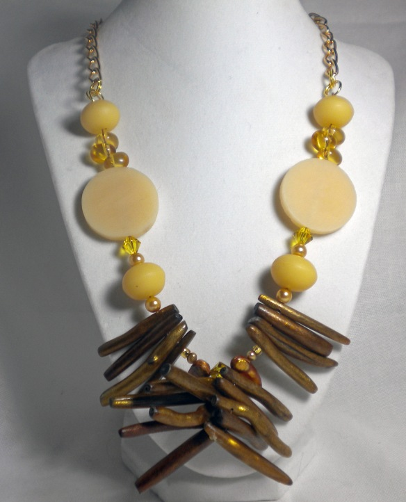 Golden Coral Goddess Necklace by Junebug Jewelry Designs