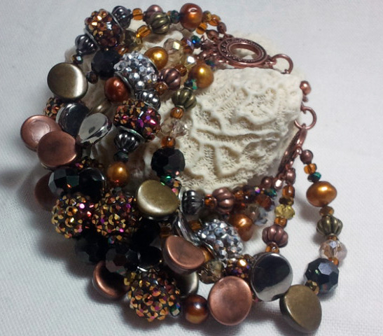 Copper Beaded Cuff Bling Ball Bracelet