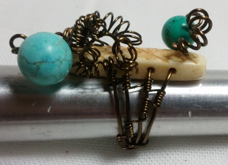 Turquoise and Bone Ring