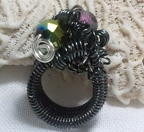 Charcoal Coiled Wire Cocktail Ring