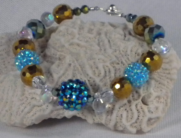 Blue and Gold Bling Ball Bracelet
