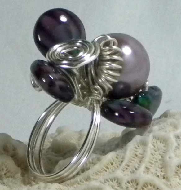 Amethyst and Pearl Wire Wrapped Ring