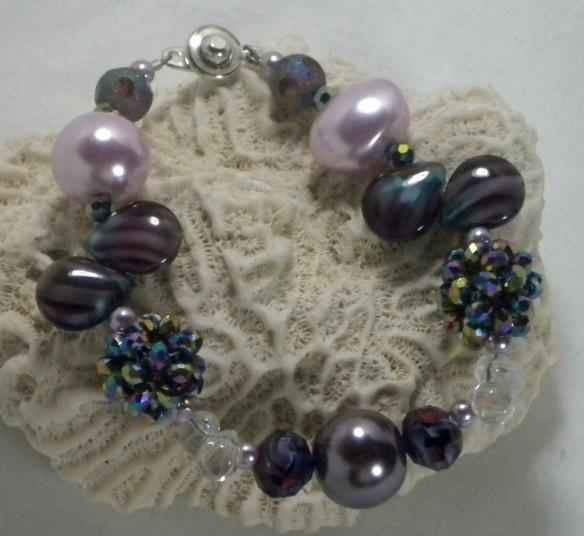 Amethyst Pearl Bling Ball Bracelet