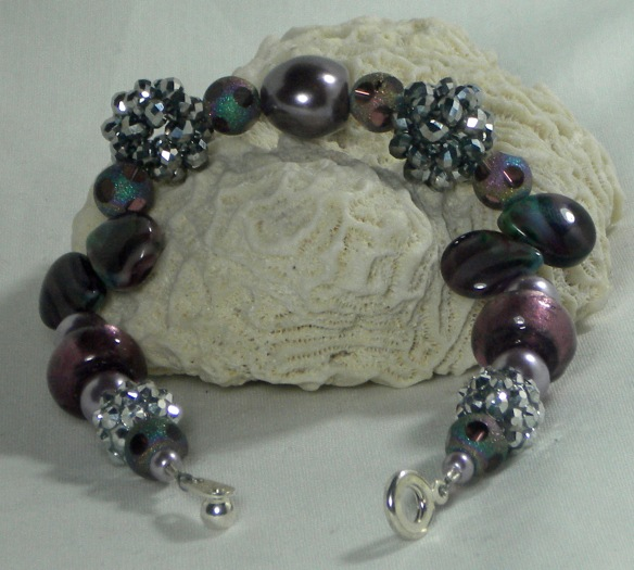 Amethyst and Silver Bling Ball Bracelet