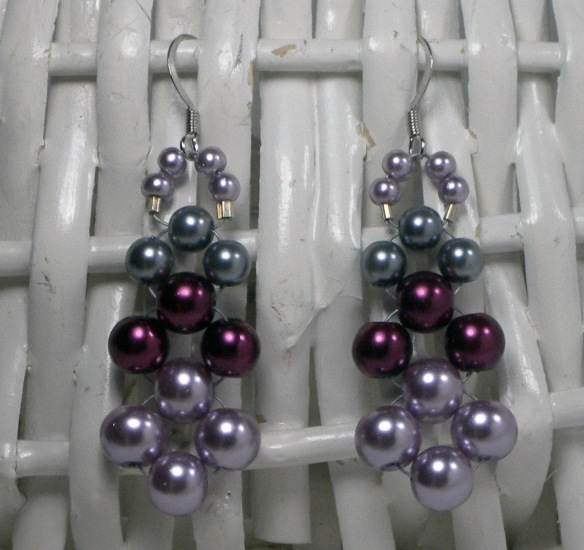 Pink, Burgundy and Silver Pearl Earrings