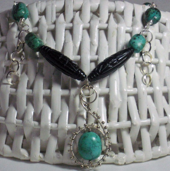 African Turquoise and Carved Onyx Necklace