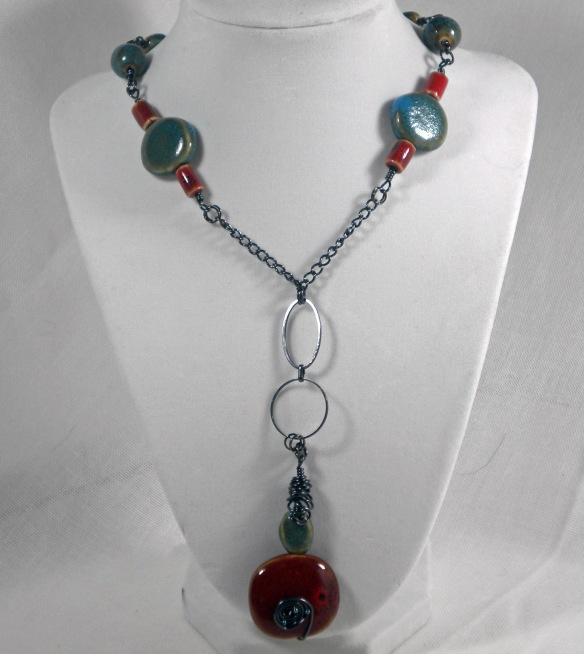 On Sale! Ceramic Bead and Chain Necklace by Junebug Jewelry Designs