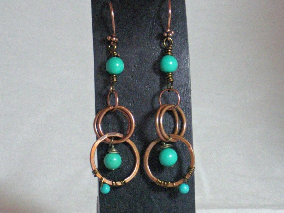 Bronze and Turquoise Dangle Earrings