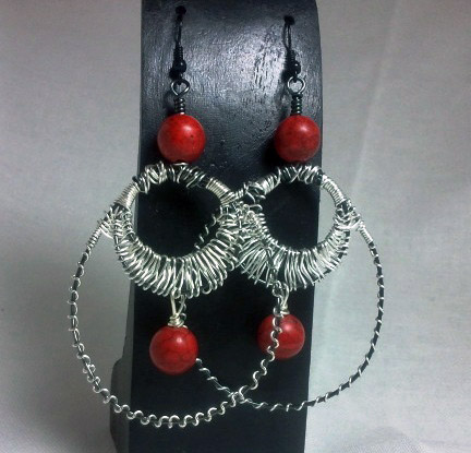 Red and Silver Wire Wrapped Hoop Earrings