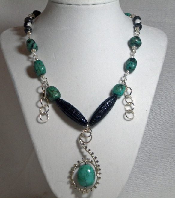 On Sale! African Turquoise and Carved Onyx Necklace by Junebug Jewelry Designs