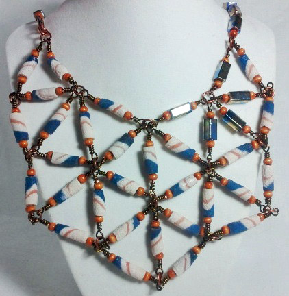 African Krobo Bead Bib Necklace