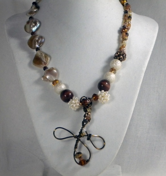 On Sale! Vintage Style Brass, Pearl and Shell Necklace