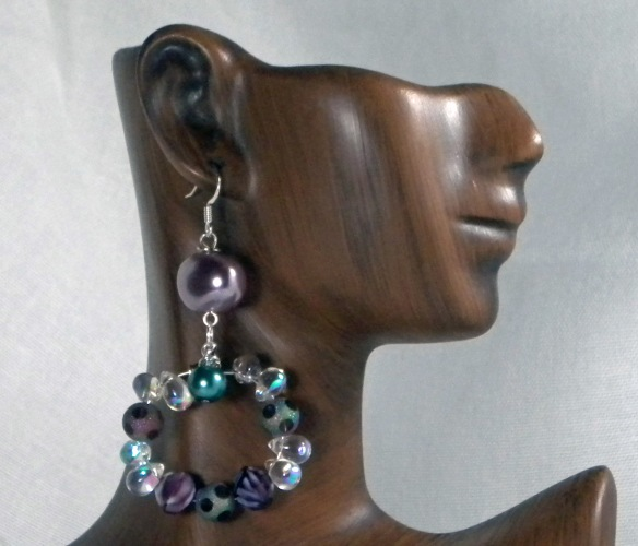 Amethyst and Teal Beaded Earrings