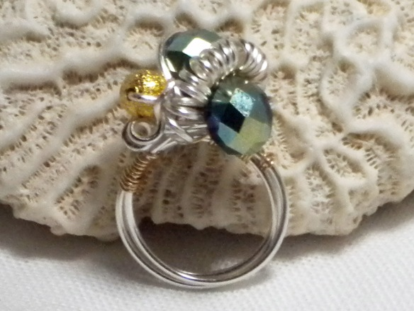 Silver, Blue and Gold Cocktail Ring by Junebug Jewelry Designs