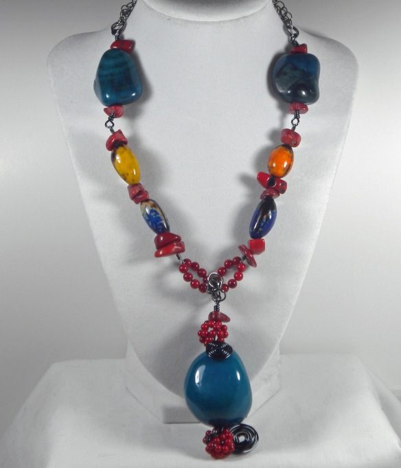Colorful Tagua Bead Necklace by Junebug Jewelry Designs