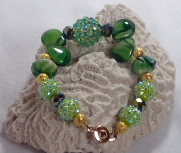 Emerald and Mint Swirl Bling Ball Bracelet by Junebug Jewelry Designs
