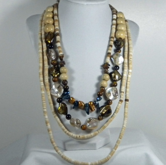 Wooden, Pearl and Tiger Eye Multi-Strand Necklace by Junebug Jewelry Designs
