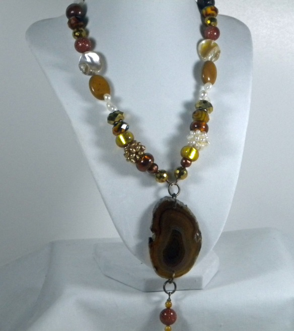 The Agate and Pearl Goddess Necklace from Junebug Jewelry Designs
