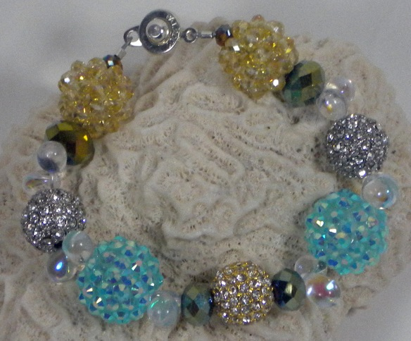 Aqua, Silver and Gold Extra Bling Ball Bracelet V.2 by Junebug Jewelry Designs