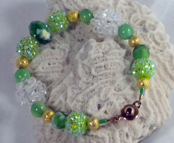 Mint, Crystal and Gold Bling Ball Bracelet by Junebug Jewelry Designs