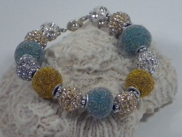 Aqua, Silver and Gold Extra Bling Ball Bracelet by Junebug Jewelry Designs