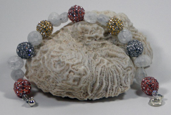 Coral, Silver and Gold Extra Bling Ball Bracelet by Junebug Jewelry Designs