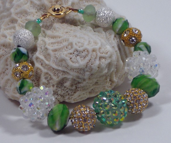 Emerald, Mint and Gold Extra Bling Ball Bracelet by Junebug Jewelry Designs