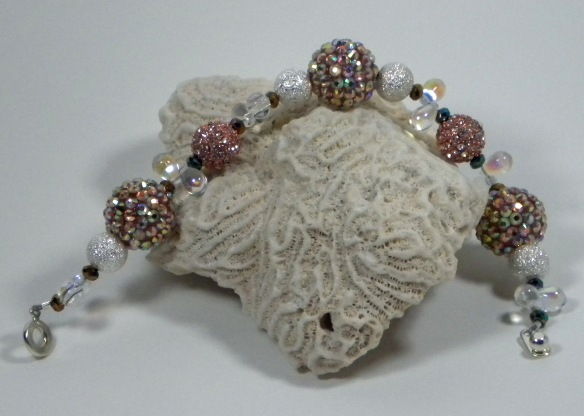 Coral and Silver Extra Bling Ball Bracelet by Junebug Jewelry Designs