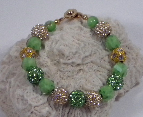 Mint and Gold Extra Bling Ball Bracelet by Junebug Jewelry Designs