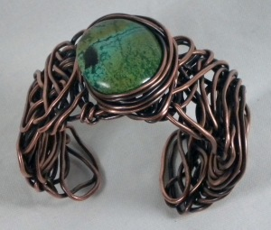 A bracelet made in the Eye of the Storm class taught by Eva Sherman during BeadFest in Philadelphia (spring 2013).