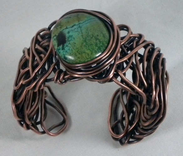 A bracelet made in the Eye of the Storm class taught by Eva Sherman.