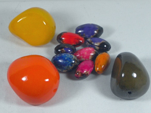 Tagua Beads are made from the nuts of South American rain forest palm trees.