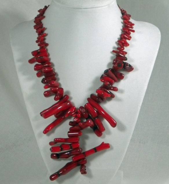 Red Hot Bamboo Coral Sticks Necklace