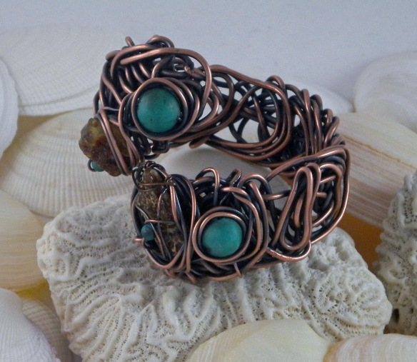 Scribble Wire Turquoise and Amber Bracelet by Junebug Jewelry Designs.