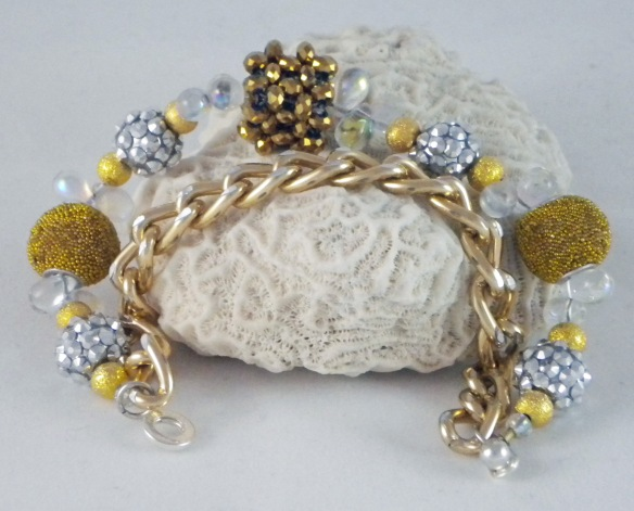 Gold Chain Bling Ball Bracelet by Junebug Jewelry Designs