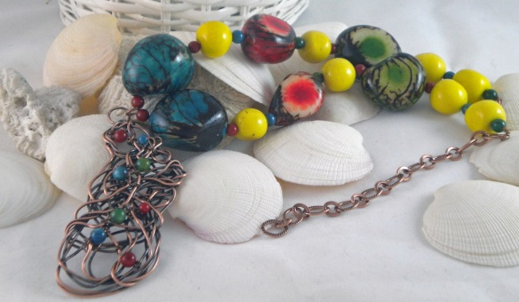 Colorful Scribble Pendant Tagua Bead Statement Necklace by Junebug Jewelry Designs