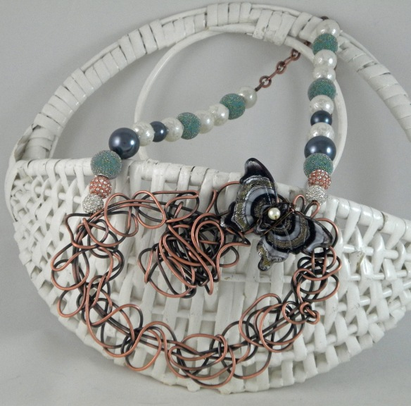 Scribble Wire Butterfly Bib Necklace by Junebug Jewelry Designs