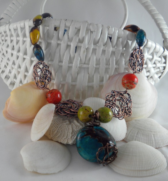 Wired Tagua Bead Statement Necklace by Junebug Jewelry Designs