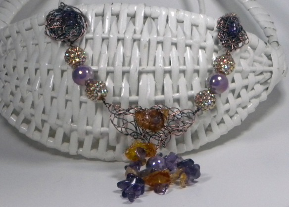 Amethyst and Amber Statement Necklace by Junebug Jewelry Designs