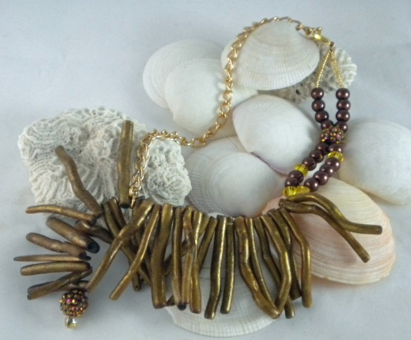 Golden Coral Sticks and Chain Necklace by Junebug Jewelry Designs