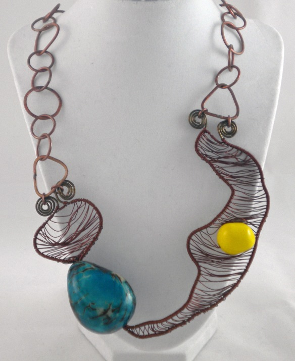 Woven Wire Tagua Bead Statement Necklace by Junebug Jewelry Designs