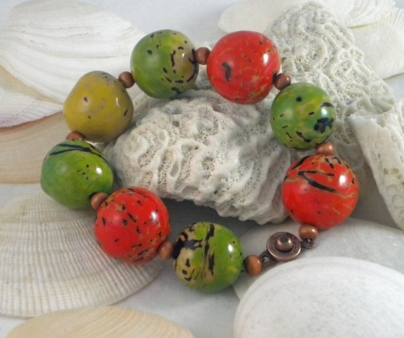 Orange and Green Tagua Bead Bracelet by Junebug Jewelry Designs