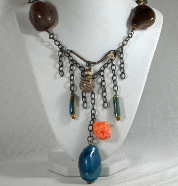 On Sale! Agate Stone Wire Wrapped Necklace by Junebug Jewelry Designs.