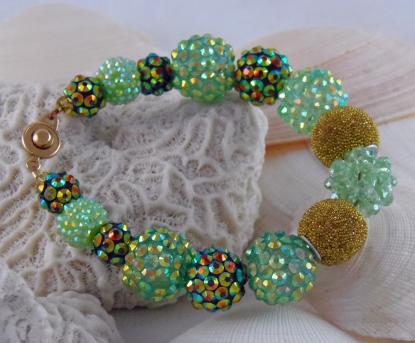 Mint, Emerald and Gold 1 Bling Ball Bracelet by Junebug Jewelry Designs