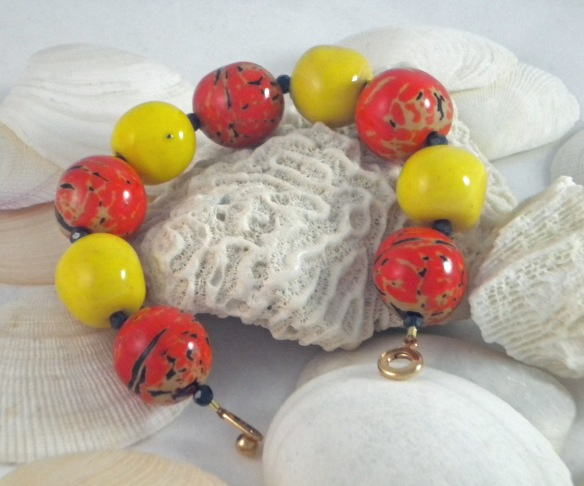 Orange and Yellow Tagua Bead Bracelet by Junebug Jewelry Designs