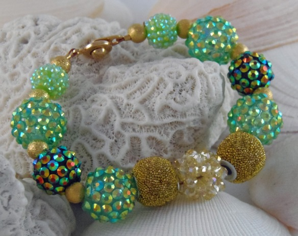 Mint, Emerald and Gold 2 Bling Ball Bracelet by Junebug Jewelry Designs