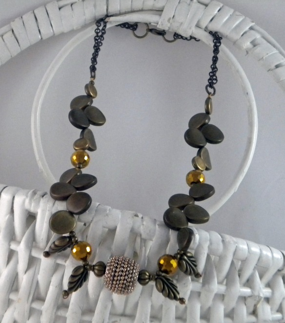Metal Petal Necklace with Free Earrings by Junebug Jewelry Designs